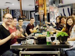 Jantando com os alunos e pessoal da LTL