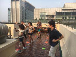 Atividades no terraço de Pequim