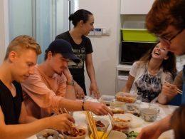 Hora de almoço em Xangai