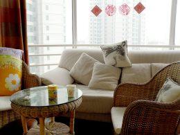 Sala de nosso apartamento em Pequim